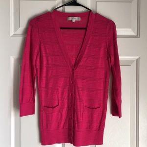 LOFT Bright Pink Lightweight Cardigan - Sz S